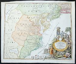 1715 Homann Large Antique Map of Colonial America Virginia Chesapeake Bay NJ, NY