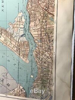 1890 Brooklyn, New York Bay, Jersey City, Hoboken, Bayonne Julius Bien Map