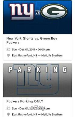 (2) Two New York Giants Tickets vs Green Bay Packers + Parking Pass 12/1/19