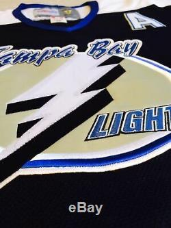 2001 Vincent Lecavalier Tampa Bay Lightning Black Jersey Size Men's Medium