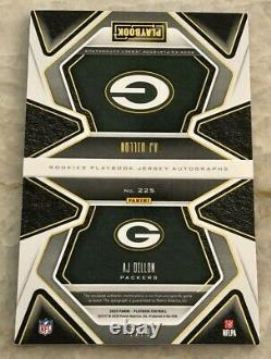 2020 Panini Playbook AJ DILLON Gold parallel jersey auto 72/99 GREEN BAY PACKERS