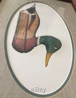ARTHUR NEVIN Wood Duck Hen DECOY Print Art Signed -BAY HEAD NEW JERSEY 1920 RARE