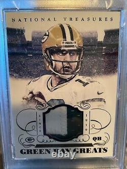Aaron Rodgers 2014 National Treasures Green Bay Greats Game Used Jersey1/5 PSA 9