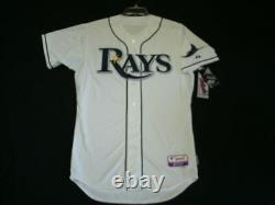 Authentic Majestic 40 MEDIUM TAMPA BAY RAYS WHITE, COOL BASE ON FIELD, Jersey
