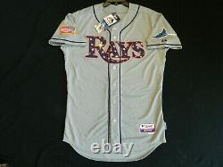 Authentic Tampa Bay Rays July 4th Stars & Stripes Cool Base Gray Jersey 40