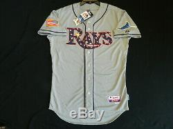 Authentic Tampa Bay Rays July 4th Stars & Stripes Cool Base Gray Jersey 44