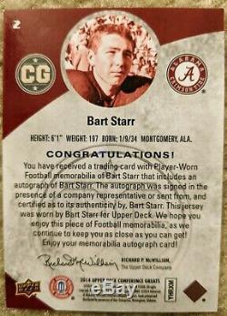 Bart Starr 2014 Upper Deck Conf. Greats Auto Jersey 05/10 Alabama Green Bay