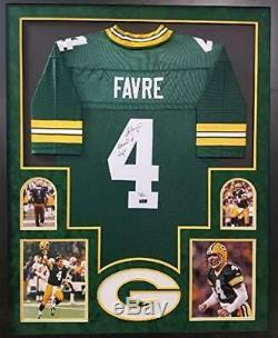 Brett Favre Green Bay Packers Autograph Signed Custom Framed Jersey Suede Mat Re