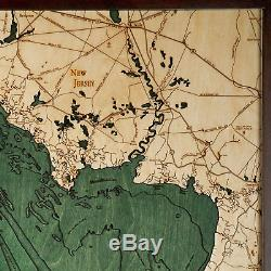 Delware Bay, New Jersey 3D Nautical Wood Map Carved Chart (Framed) 24.5x31