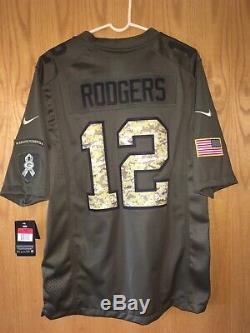 Green Bay Packers Rodgers Green Camo Salute to Service Mens Large Nike Jersey