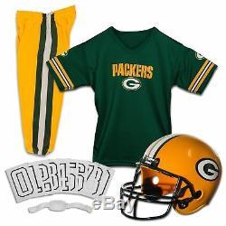 Green Bay Packers Uniform Set Youth NFL Football Jersey Helmet Kid Costume Large