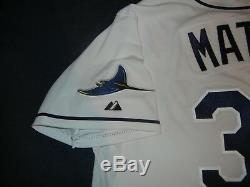 HIDEKI MATSUI AUTHENTIC Majestic TAMPA BAY RAYS White Jersey 52 2XL Yankees A's