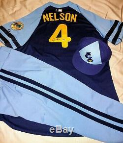Jamie Nelson Tampa Bay Rays Turn Back The Clock Autographed Jersey Set MLB COA