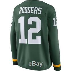 Men's Green Bay Packers Aaron Rodgers Green Therma Long Sleeves Jersey Medium