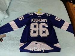 NEW Nikita Kucherov Tampa Bay Lightning Adidas Authentic Player Jersey 52