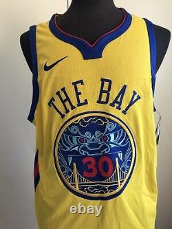 NIKE Authentic WARRIORS Jersey SZ52 PROSPERITY #30 CURRY Embroidered The Bay