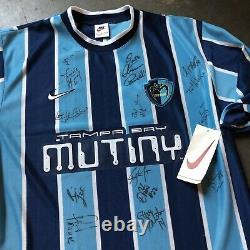 NWT Men's Vintage 90s Nike Tampa Bay Mutiny MLS Team Signed Autographed Jersey L