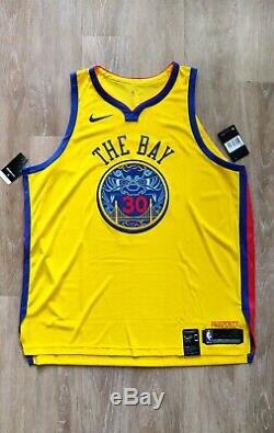 NWT Nike Mens Stephen Curry Warriors Authentic The Bay Dragon City Jersey 3XL