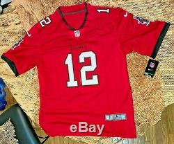 New 2020 Tampa Bay Buccaneers Tom Brady #12 Red Stitched Game Jersey Large