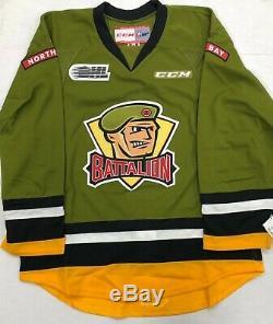 New Authentic Pro Stock CCM North Bay Battalion Hockey Goalie Jersey sz 58 7287