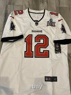 New Tom Brady #12 Tampa Bay Buccaneers Super Bowl LV 55 Jersey White Size M