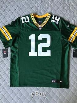 Nike Mens Green Bay Packers Aaron Rodgers Elite Home Jersey Size 52 Authentic