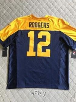 Nike Mens Green Bay Packers Aaron Rodgers Elite Throwback Jersey Sz 52 Authentic