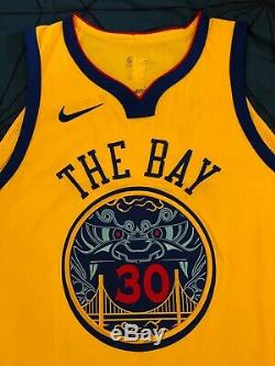 Nike NBA Steph Curry Golden State Warriors City Edition The Bay Authentic Jersey