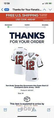 Nike Tampa Bay Buccaneers Tom Brady Super Bowl LV Game Jersey 100% AUTHENTIC M