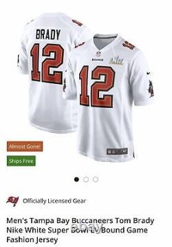 Nike Tom Brady Tampa Bay Buccaneers Super Bowl LV Bound Fashion White Jersey XL