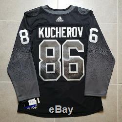 Tampa Bay Lightning Bolts Alternate Black NHL Adidas Jersey Kucherov 46 Small