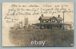 Train Depot BAY HEAD New Jersey Shore RPPC Antique Railroad Station Photo 1906